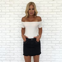 Rope & Ride Black Denim Mini Skirt