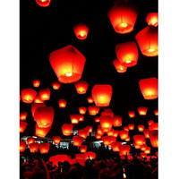 10Pcs Red Sky Lanterns-Wedding Paper Lanterns,Best Choice for Wedding,Party,Holiday