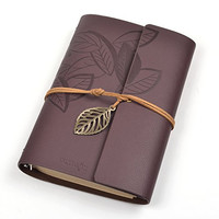 Cosmos® Classic String PU Leather Dark Brown Loose-leaf Blank Notebook Diary Travel Journal Note Book