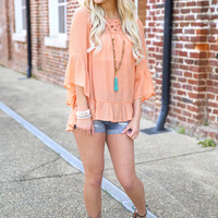 weekend warrior top - apricot