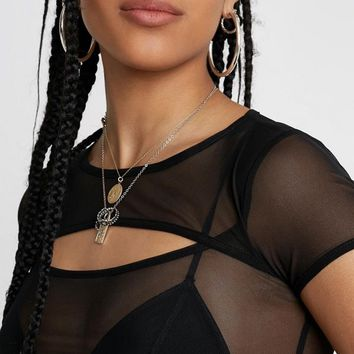 UO Double-Layer Mesh Top | Urban Outfitters