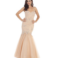 Preorder -  Nude Strapless Sweetheart Tulle Gown 2015 Prom Dresses
