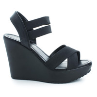 Benny Black Pu Open Toe Strappy Elastic Ankle Cuff Platform Casual Wedges Women Shoes