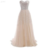 Women Summer Clothing Sexy Strapless Sequins Party Whiter Ball Gown Evening Long Dress