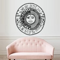 Wall Decal Decor Decals Sticker Art Vnyl Design Sun Crescent We Live By the Sun We Feel By the Moon Dual Sign Ethnical Symbol Moon (M1281)