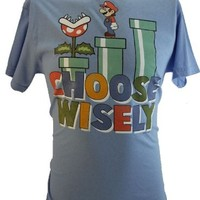 """Super Mario Brothers (Bros.) (NES WII) Mens T-Shirt - """"Choose Wisely"""" Mario Exploring Pipes on Blue (Large)"""