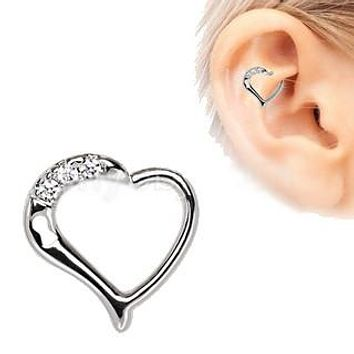 316L Stainless Steel Jeweled Heart Cartilage Tragus / Daith Earring with Keyhole