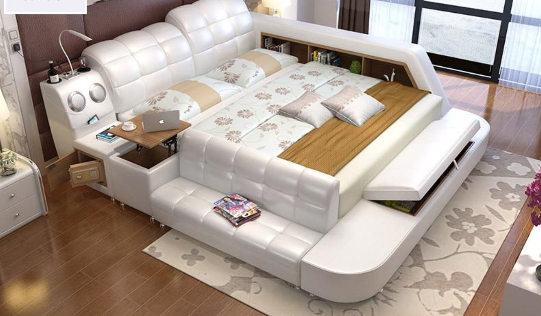 Image of Leather Bed With Storage For Living Room Furniture