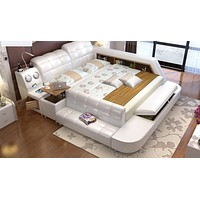 Leather Bed With Storage For Living Room Furniture