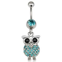 World Pride Crystal Retro Owl Bird Pendant Stainless Steel Dangle Navel Ring Belly Bar Cute Body Piercing Jewelry (Blue)
