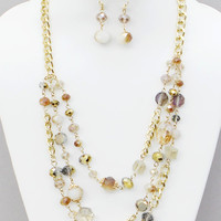 Topaz Faceted Glass Multi Strand Necklace