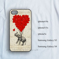 iPhone Case, iPhone 4/4s Case, iPhone 5/5s case, iPhone 5c case,samsung galaxy s3/s4,Elephant and balloons iPhone case