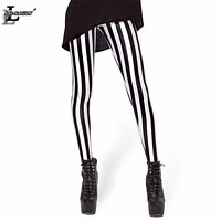 New Black White Striped Vertical Printed Leggings Gothic Creative Fitness Women Punk Shape Slim Sexy Popular Pants BL-229