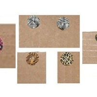 Stud Cabochon Post Earrings : Zebra - Tiger - Cheetah - Camouflage