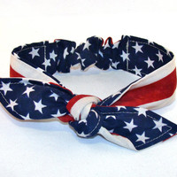 Baby Toddler Pre-tied Head Scarfs American Flag Fourth of July Headband Hair Accessory