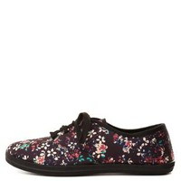 Lace-Up Floral Canvas Sneakers by Charlotte Russe - Black Combo