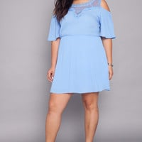 Plus Size Crochet Open Shoulder Dress - Blue