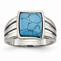 Stainless Steel Imitation Turquoise Ring: RingSize: 9