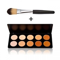 10-Color Concealer Palette Set with Foundation Brush