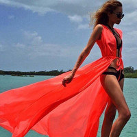 Solid Color Summer Women Sexy Swimsuit Cover Up Chiffon 6Color Plus Size Swimwear Bikini Cover Ups dress Long Beach Cover Up
