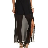Sheer Maxi Skirt with Slit by Charlotte Russe - Black