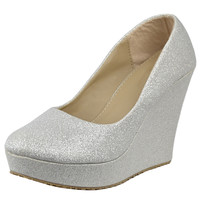 Womens Platform Shoes Glitter Accent Closed Toe Slip On Wedges Silver SZ
