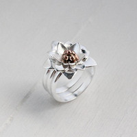 Lotus Blossom Band Ring, Lotus Jewelry, Inspirational Jewelry, Floral Jewelry, Yoga Jewelry, Rebirth Symbol, Handmade One of A Kind
