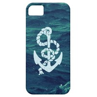 White Vintage Nautical Anchor Blue Green Waves iPhone 5 Cases