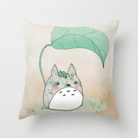 Floral Totoro Throw Pillow by Munieca | Society6