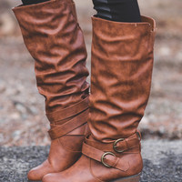 Running Late Double Buckle Boots-Tan