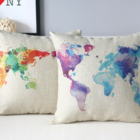 Stylish Creative Travel blue Decorative Pillow/ Cushion Cover