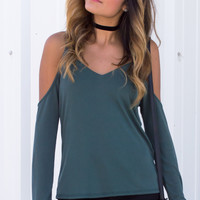 Perla Cold Shoulder V-Neck Top - Olive