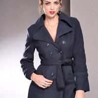 Navy Button Up Double Breasted Pea Coat Outerwear @ Amiclubwear Outerwear Clothing Store:Women's Outer Wear,leather motorcycle jackets,double breasted coats,winter outerwear,outerwear jackets,Outerwear Dress,Discount Outerwear,sexy jackets,womesn sexy coa