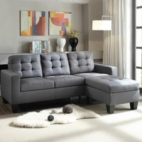 2 pc Earsom II collection grey linen fabric upholstered sectional sofa with reversible chaise