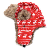 Reindeer Print Faux Fur Trim Trapper Hat