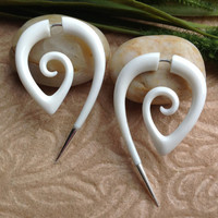"""Fake Gauge Earrings, """"The Girl With The Dragon Tattoo"""" Bone, Naturally Organic, Hand Carved, Tribal"""