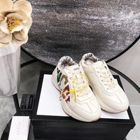 Ready Stock Gucci Women's Leather Rhyton Sneakers Shoes #916