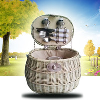 Trendy Picnic Basket For 2 People Wicker Outdoor Bag With Lid Handmade Rattan Storage Steamed Cassette Cover 88073