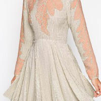 ASOS SALON Leaf Placement Embellished Skater Dress
