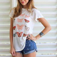 White Short Sleeve Top with Butterfly Print Front