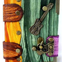 Handmade MultiColor Leather Journal Notebook Guitar emblem With Blank Pages