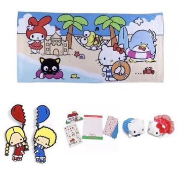 SANRIO Hello Kitty Loot Crate EXCLUSIVE Bundle Towel, Pin, Plush & Stationery