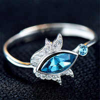 Womens Girls Classic Silver Ring With Adjustment Crystal Ring Love Jewelry Hight Quality Best Christmas Gift One Size Rings-80