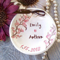 Cherry Blossom Custom Wedding Ring Bearer, Ring Pillow Alternative, Ring Bowl, Ring Dish, Wedding Ring Holder