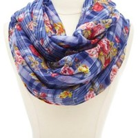 Blue Combo Plaid & Floral Print Infinity Scarf by Charlotte Russe