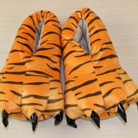 2016 new Autumn and winter super soft coral velvet Stitch dinosaur paw shoes explosion models thick plush cotton slippers slip