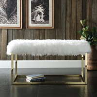 Iconic Home Marilyn Fur Modern Luxe Gold Metal Frame Ottoman Bench, White