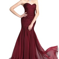 NobleFans Sweetheart Court Train Chiffon Mermaid Prom Dress With Pleating