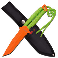 M-Tech 10.5in Orange Painted Fixed Blade Knife-Green Handle
