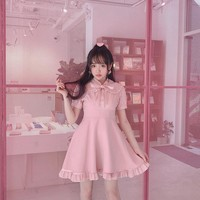 Princess sweet lolita dress Bobon21 sweet girl fake two pieces of stitching bow tie dress Japanese high waistline women D1609